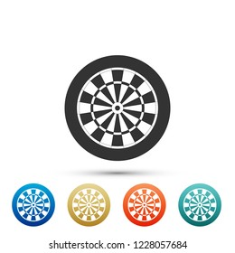 Classic darts board with twenty black and white sectors icon isolated on white background. Dart board sign. Dartboard sign. Game concept. Set elements in colored icon. Flat design. Vector Illustration
