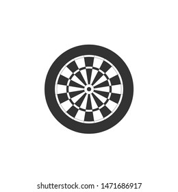 Classic darts board with twenty black and white sectors icon isolated. Dart board sign. Dartboard sign. Game concept. Flat design. Vector Illustration