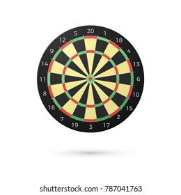 Classic Darts Board with twenty sectors. Realistic Dart boards. Game concept. Vector illustration isolated on white background