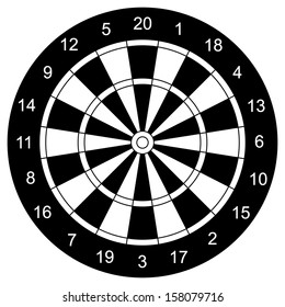 Classic Darts Board vector, with Twenty Black and White Sectors.