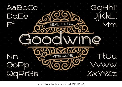 Classic decorative font with beautiful swirls ornament around the text
