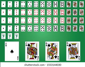 Classic design of playing cards poker Games, Gambling - Vector