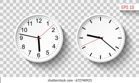 Classic design wall clocks. Template for your design works. Vector illustration.