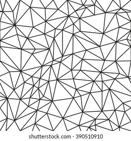 classic detailed black polygon outline seamless pattern