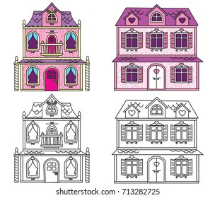 Glitter Doll House Coloring Page | Learn to Draw and Color a Doll ... | 280x304