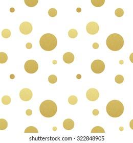 Classic dotted seamless gold glitter pattern.  Polka dot ornate