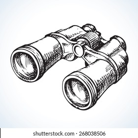 Classic efficient hand rough metallic black binocular isolated on white. Vector freehand ink drawn background sketch in scribble antiquity style of pen on paper. View close-up with space for text
