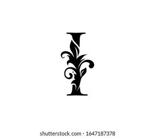 Classic Elegant letter I. Graceful royal style. Calligraphic beautiful logo. Vintage drawn emblem for book design, weeding card, brand name, business card, Restaurant, Boutique, Hotel.
