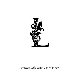 Classic Elegant letter L. Graceful royal style. Calligraphic beautiful logo. Vintage drawn emblem for book design, weeding card, brand name, business card, Restaurant, Boutique, Hotel.