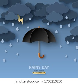 Classic elegant opened black umbrella in paper cut style. Vector illustration. Overcast sky, thunder and lightning. Rainy day monsoon concept with dark clouds.