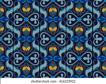 classic elegant seamless pattern in soothing blue shades