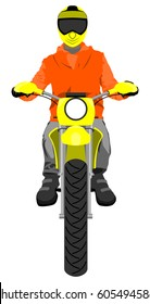 Classic enduro motorcycle with sitting rider wearing helmet front view color vector illustration