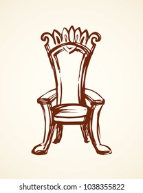 Classic fashion palace lux exquisite sit arm stool design on white background. Freehand line black ink hand drawn logo sketchy in art retro doodle cartoon graphic style pen on paper and space for text