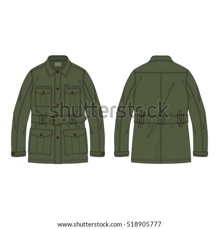 classic field jacket vector template stock vector royalty free