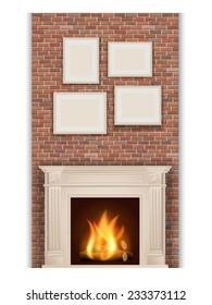 classic fireplace on brick wall background