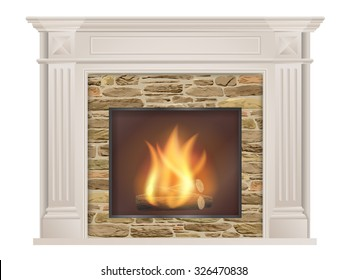Classic fireplace: with pilasters and a furnace with natural stone inside. The element of the interior living room. Vector illustration.