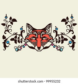 Classic floral ornament element with fox head