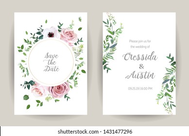 Classic floral vector design frames. Dusty pink rose, anemone, white lilac, eucalyptus, greenery. Trendy wedding green and flowers rustic cards. Golden geometry style line art. Isolated and editable