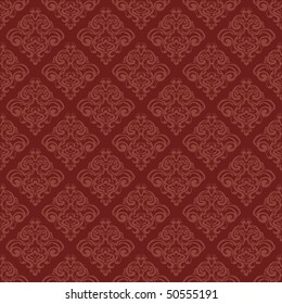 classic floral wallpaper in red color