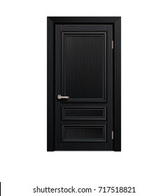 classic framed molded entry black wooden door isolated on white background. realistic 3d vector illustration
