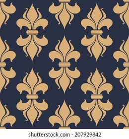 Classic French gray and beige fleur-de-lis seamless background pattern with a repeat motif in square format suitable for wallpaper, tiles and fabric design