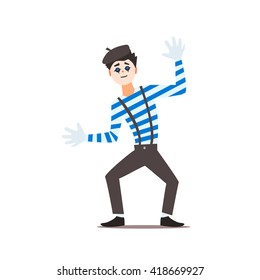 Classic French Mime Isolated Primitive Design Style Vector Illustration on White Background