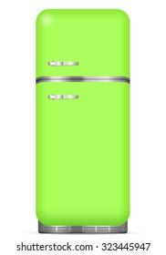 Classic fridge on a white background. Vector illustration.