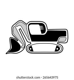 Classic front shovel bucket excavator symbol. Isolated black icon