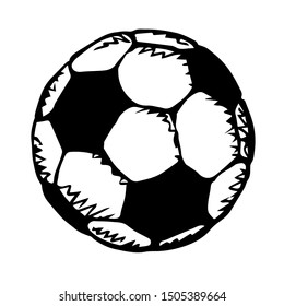 Classic fun kickball sphere on light field backdrop text space. Freehand outline dark ink hand drawn picture emblem design sketchy in art retro doodle engrave print style pen on paper. View close up
