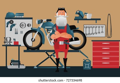 A classic garage for motorcycle repairs. Old biker master at the front. Character vector illustration.