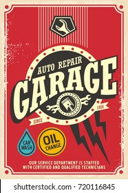 Classic garage retro poster design template. Car service and repair vintage sign. Vector illustration for garage business. Cars and trucks maintenance service.