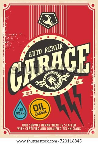 classic garage retro poster design template のベクター画像素材