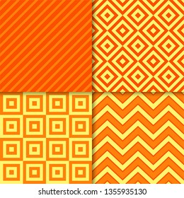 Classic geometric patterns vector set. Textile fabric prints, geometric background patterns with diagonal stripes, squares, zigzag chevron and rhombus shapes. Classic patterns design collection.