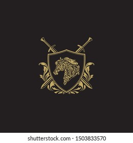 Classic golden crest with horse head, shield & two swords. Stallion head in luxurious gold decorative graphic style as shield logo.