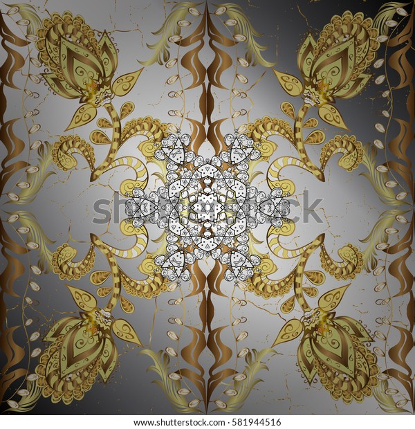 Classic golden pattern. Vector traditional orient ornament. Golden pattern on neutral background with golden elements.