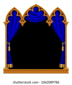 Classic gothic architectural decorative frame with a blue curtain on black. Vintage design element, cover and poster template isolated on white. Vector Illustration