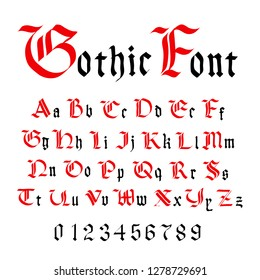 Classic gothic font, set of ancient letters on white
