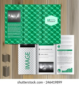 Classic green brochure template design with geometric pattern. Cover layout
