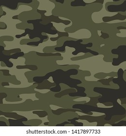 Classic green camouflage seamless pattern. Military, hunting. Print on fabric on paper. Vector