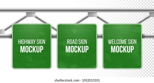 Classic green traffic information sign. Road direction sign for information or map. Blank board with place for text. Highway road sign mockup. Blank street sign mockup. Welcome city road board.