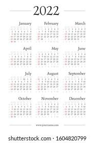Gregorian Calendar 2022.Classic Gregorian Calendar 2022 Year A4 Stock Vector Royalty Free 1604820799