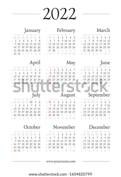 Roman Calendar 2022.Classic Gregorian Calendar 2022 Year A4 Stock Vector Royalty Free 1604820799