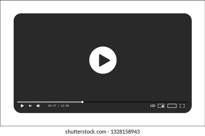 Classic grey and white video player template. Vector illustration