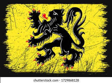 Classic grunge flag of Flanders country. Happy national day of Flanders. Brush flag on shiny black background