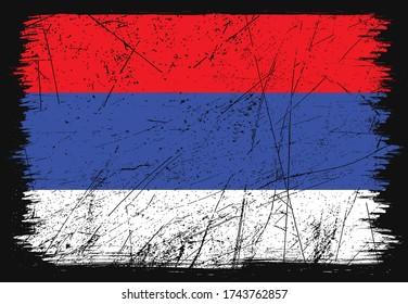 Classic grunge flag of Republika Srpska country. Happy republic day of Republika Srpska. Brush flag on shiny black background