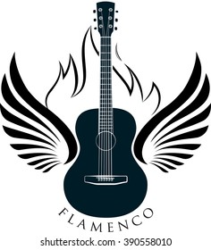 Classic guitar emblem with wings, fire and caption FLAMENCO