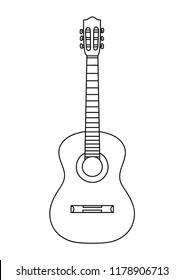 Classic guitar line vector.