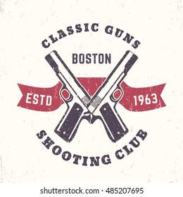 Classic Guns print, logo, emblem with crossed, pistols