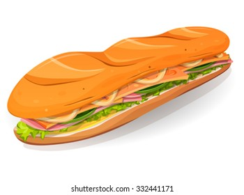 Classic Ham And Butter French Sandwich Icon/ Illustration of an appetizing cartoon fast food sandwich icon, with ham slices, butter, cheese, salad leaves and french loaf, for takeout restaurant