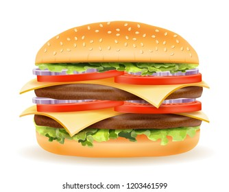 classic hamburger with meat chop tomato onion and cheese in a bun stock vector illustration isolated on white background